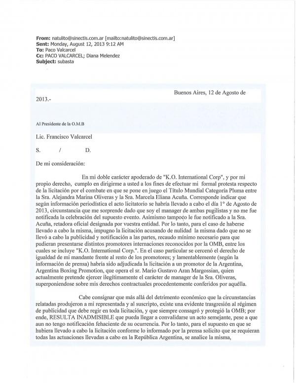 Osvaldo Rivero solicita anulacion Subasta.pg1
