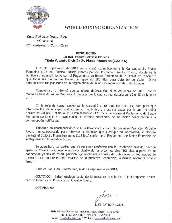 RESOLUCION TITULO VACANTE 122 LBS. FEMENINO. YESICA P. MARCOS