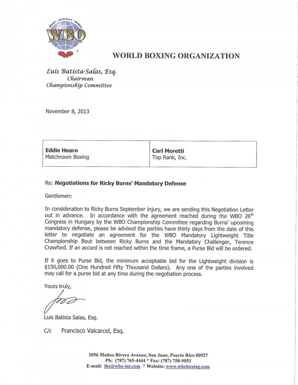 Negotiations for Ricky Burns Mandatory