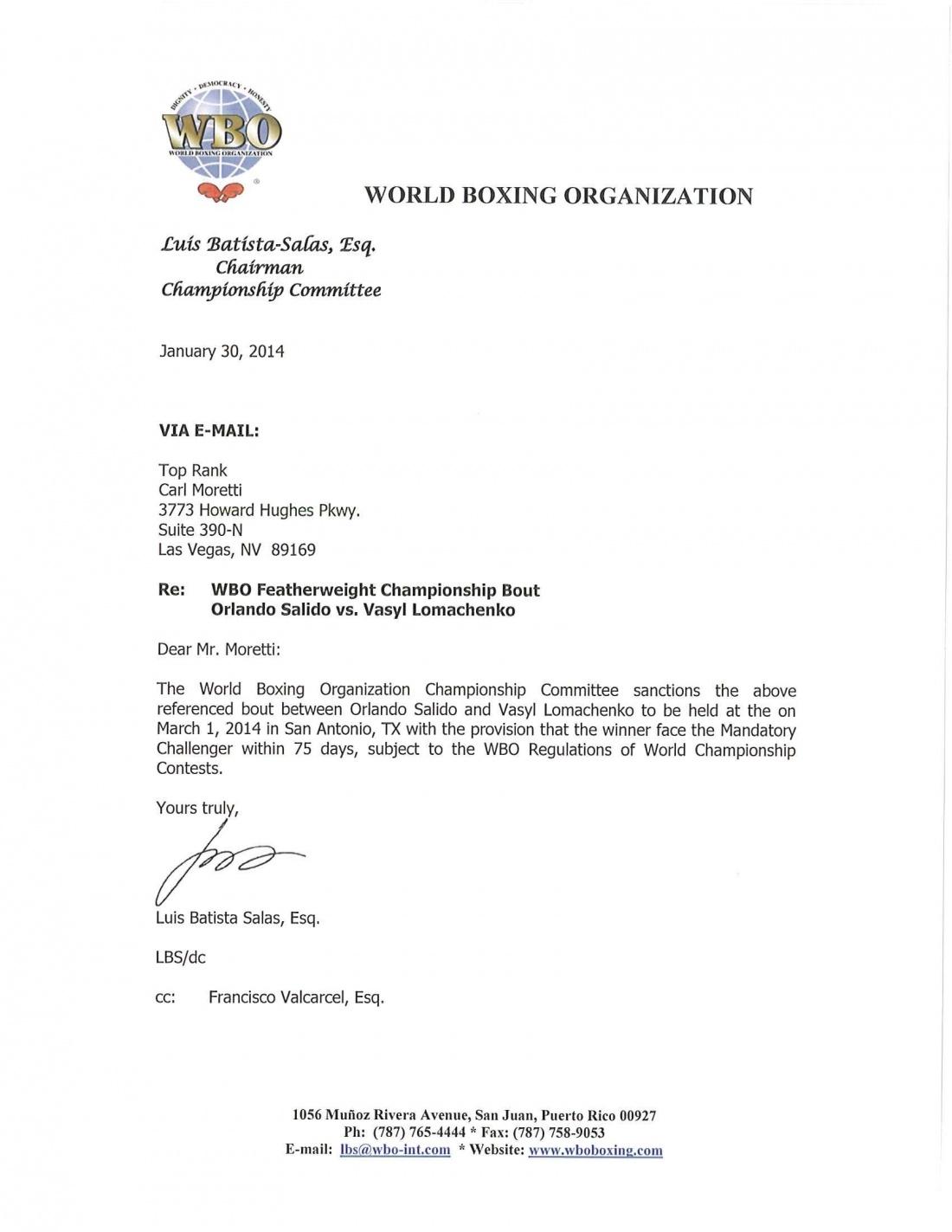 Salido vs. Lomachenko sanction letter