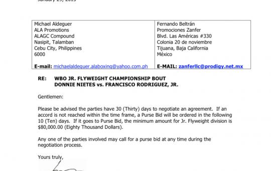 WBO Call to Negotiations:  Donnie Nietes vs. Francisco Rodriguez, Jr.