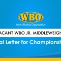 APPROVAL LETTER FOR VACANT WBO JR. MIDDLEWEIGHT CHAMPIONSHIP TITLE