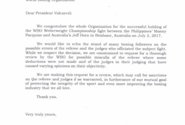 Games and Amusements Board letter to WBO