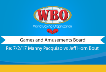 Letter to the Games & Amusement Board