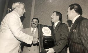 In this photo: Félix 'Tuto' Zabala, PR Sport's Secretary Eric Labrador, PR Governor Pedro Roselló and then PR Boxing Commission President Francisco 'Paco' Valcárcel.